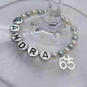 65th Birthday Personalised Wine Glass Charm - Full Bead Style